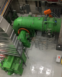 Double francis turbine using PLC/TG governor